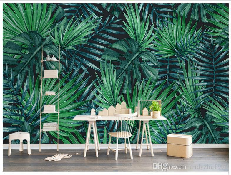 3D photo wallpaper custom size mural non-woven wall Nordic simple tropical plant backdrop mural wall 3D Mural wallpaper