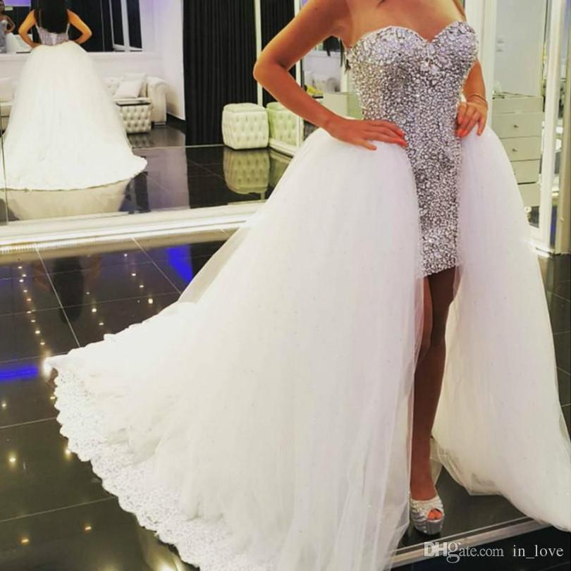 Съемная юбка Высокие низкие свадебные платья Бриллианты Кристаллы Короткая передняя Длинная задняя Съемная шлейф Свадебные платья Нестандартного размера