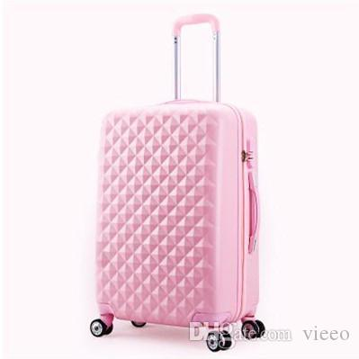 Women Rolling Luggage 2017 Fashion Abs Solid Color Travel Suitcase ...