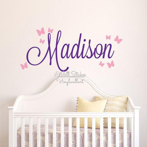 Girls Name Wall Sticker Baby Nursery Name Butterfly Wall Decal Personalized  Name Stickers For Kids Room Cut Vinyl Stickers C14 Wall Word Art Wall Word  ... Part 8