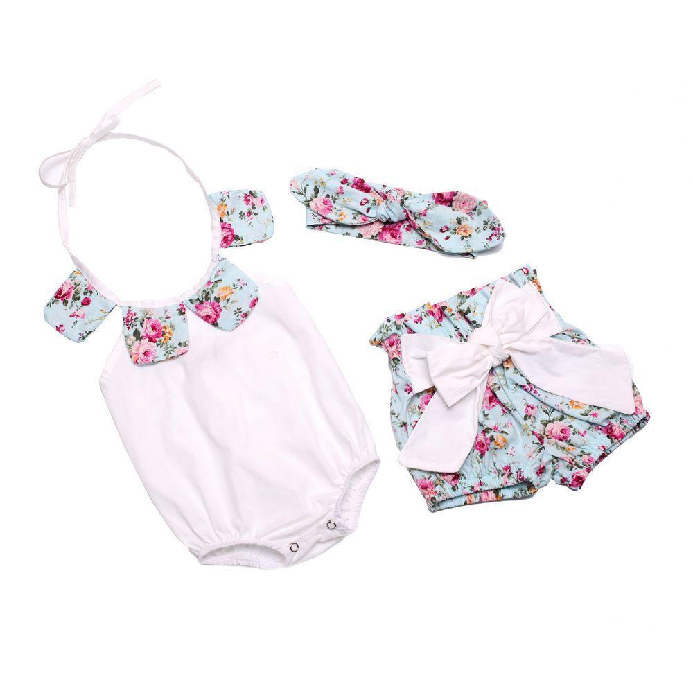 Bebek Kız Romper Çiçek Petal Pamuk Tulum + Ilmek Şort + Bunny Kulak Bandı Bebek 3 adet Set çocuklar yaz tulumlar Bebek bodysuit C478