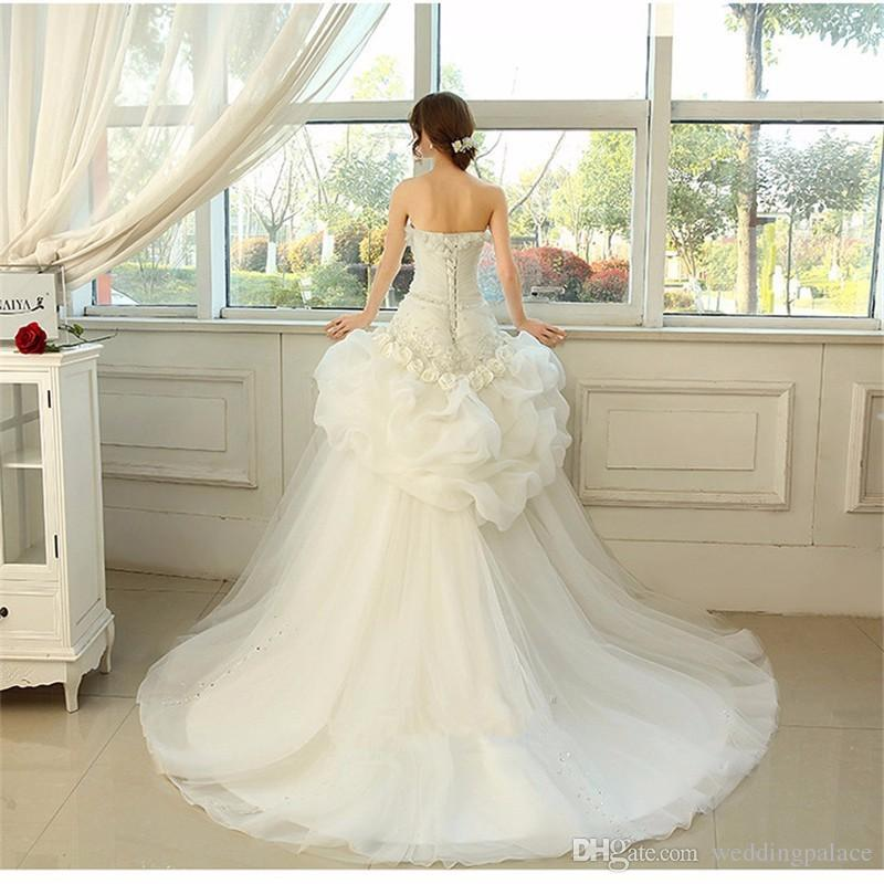 Newest Princess Ball Gown Wedding Dresses Embroidery Ruffles Bride Dresses Organza Detachable Train Robe De Mariage Bridal Wedding Gowns