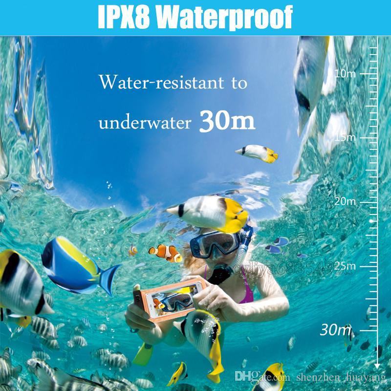 Bolsa Bolsa seca caso impermeable de PVC de protección universal de la bolsa del bolso del teléfono con el compás Bolsas para el buceo natación por un teléfono inteligente hasta 5,8 pulgadas