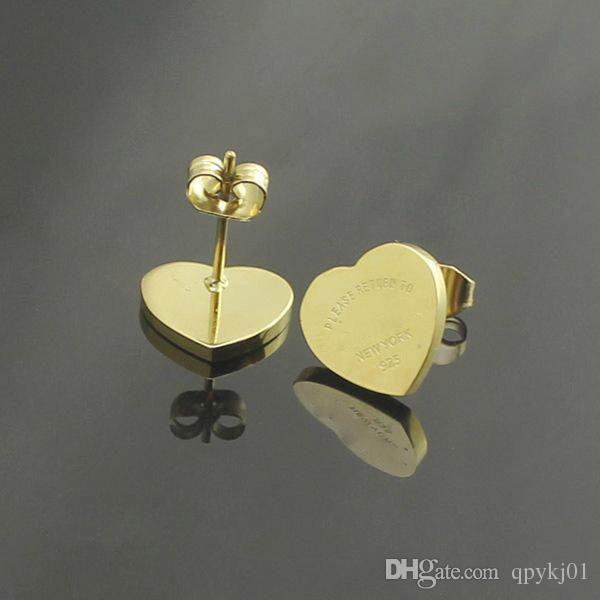 Célèbre marque 316L titane acier goujon boucle d'oreille de luxe forme de coeur marque femmes charme amour boucles d'oreilles mode bijoux en gros