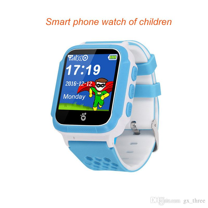 Sky blue colour, Touch screen GPS tracker Smart worn Watch Phone for Kids , English Support & App, Two Way Calls , One Button Control & SOS.