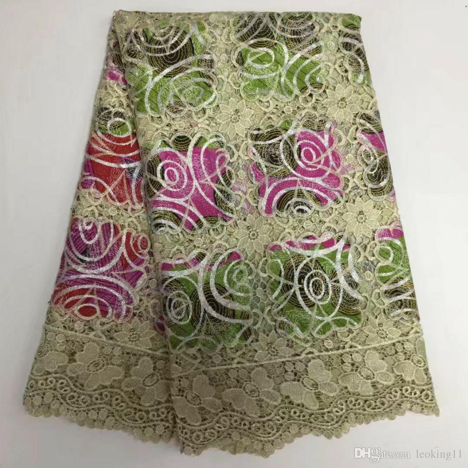 5 Yards/PC High quality khaki embroidery african water soluble lace and fuchsia flower cotton fabric for clother BW130-6