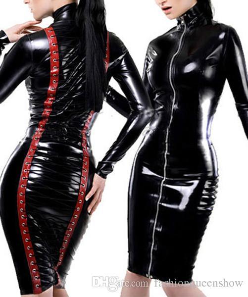 Vente chaude Sexy Noir Gothique Haute Cou Midi Robe Rouge À Lacets Bondage Serré Catsuit Fétiche Décapant Nuit Clubwear Scène Spectacle Costume