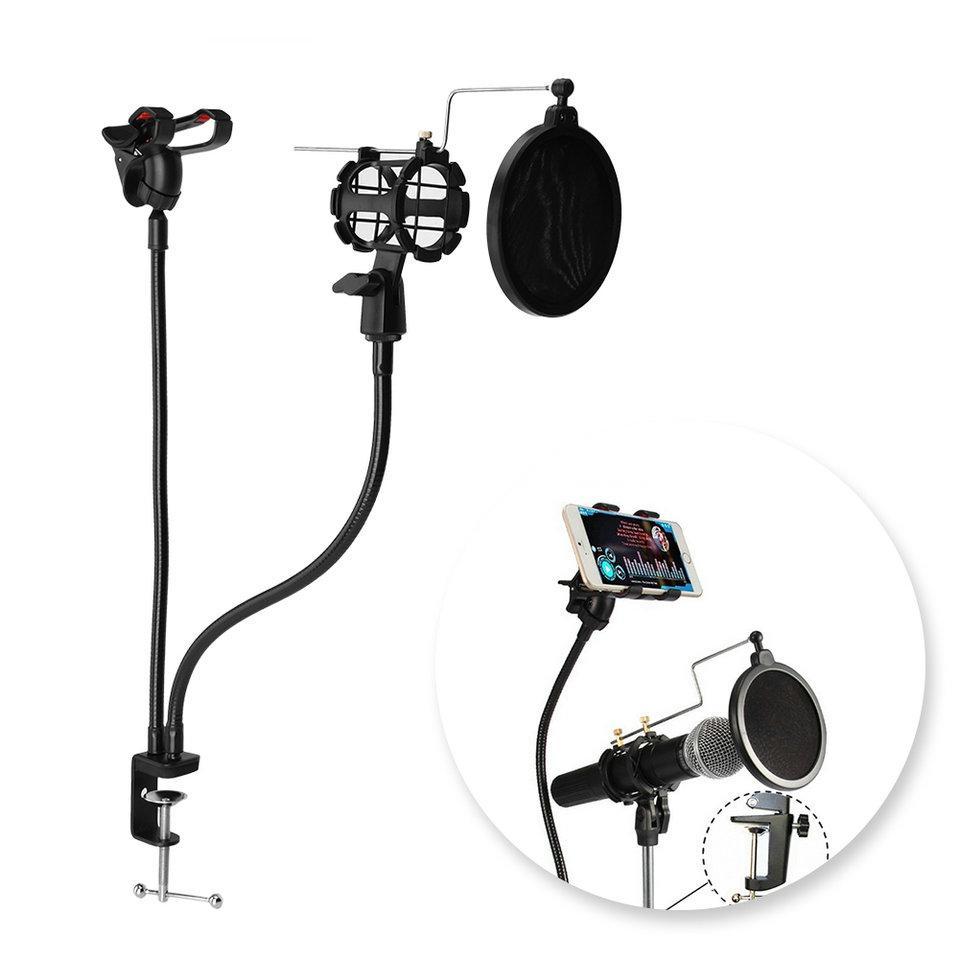 Freeshipping Fachmann-Mikrofon-Stand-Berg-Telefon-Halter mit Klipp für Karaoke MV androides IOS Handy Universal