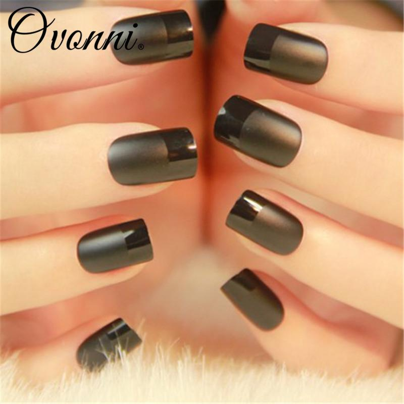 Wholesale Elegant French Style Chic Black Fake Nails Frosted Surface ...