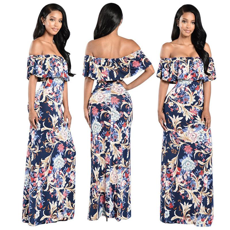 2018 Wholesale Dresses Plus Size Club Wear Sexy Strapless Digital