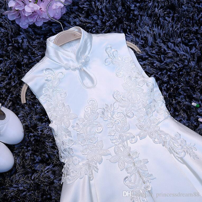 Новый цветок девушка платья китайский стиль высокая шея партии театрализованное Причастие платье для свадьбы маленькие девочки дети / дети платье