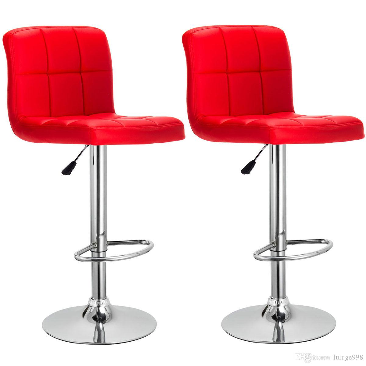 Set Of 2 Bar Stools PU Leather Adjustable Barstool Swivel Pub Chairs Red  New Bar Chair Online With $62.3/Piece On Luluge998u0027s Store | DHgate.com