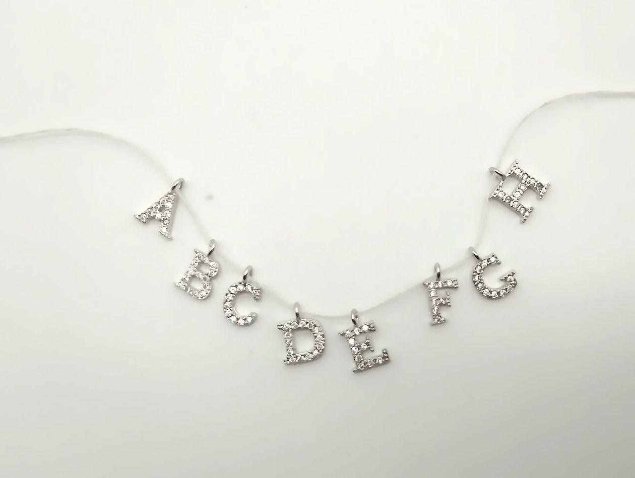 A-z cristal élégant mosaïque zircon délicat petit pendentif alphabet 26 lettres de bijoux