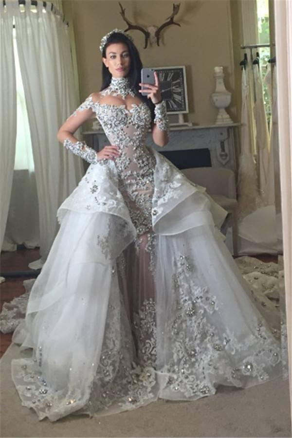 Luxury Gothic Wedding Dresses With Detachable Skirt Beaded Lace Appliques  High Neck Long Sleeves Bridal Gowns Custom Made Vestidos De Novia Ball Gown  Style ... 0195c4e5738f