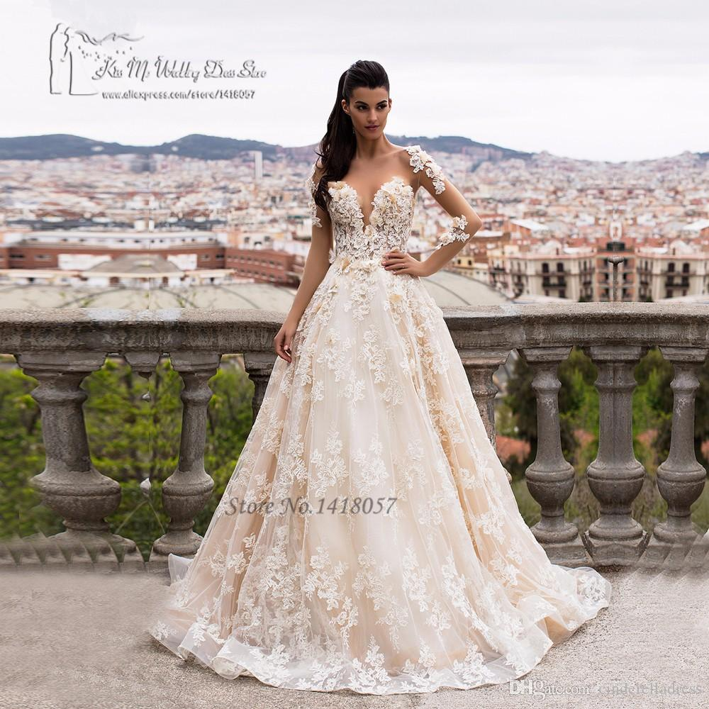Discount Greek Champagne Lace Wedding Dresses 2017 Turkey ...