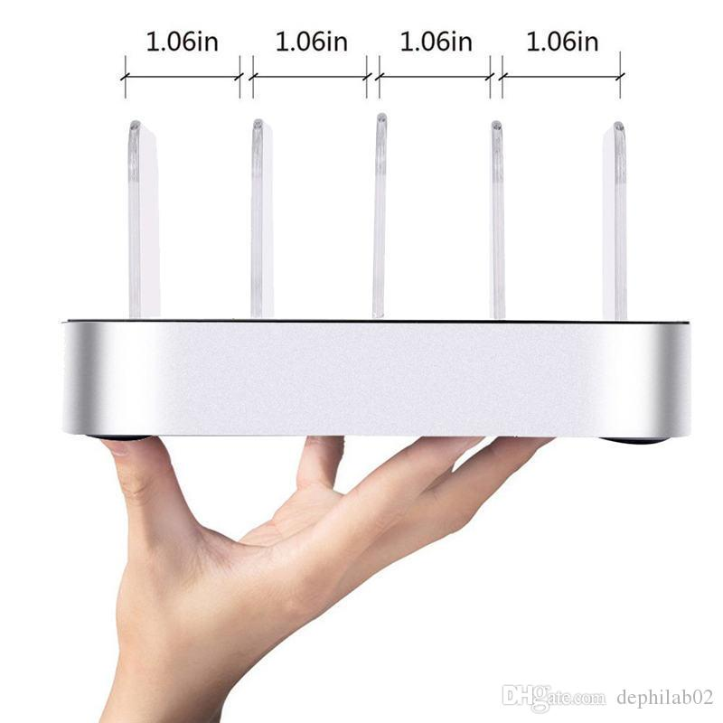 4 Port USB Charger Station 6.8A Universal Portable Desktop Travel Smartphone Multi-Device Hub Charging Dock Holder For iPhone iPad Galaxy