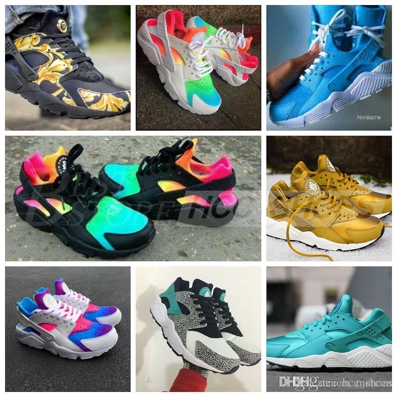 0ea9640b5c4b75 2018 Huarache Sneakers Women And Mens Huaraches Colorful White Huarache  Blue Running Shoes Sneakers Air Huarache Rainbow Shoes Size 36 45 Womens  Running ...