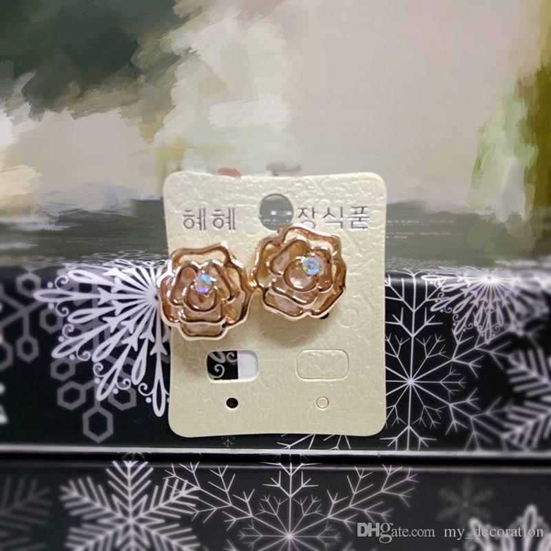 Ladies Fashion Crystal Hollow Rose Rhinestones Plated Earrings Rose Gold Ear Studs Gemstone Flower Jewelry for Women Girls