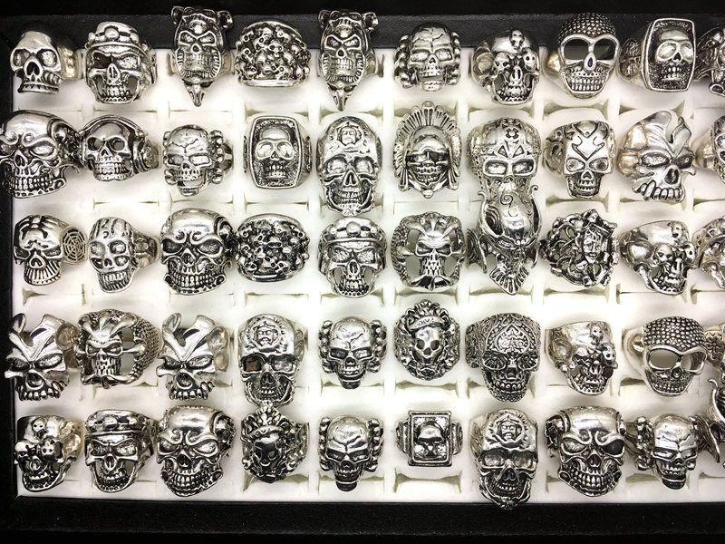 Großhandel 50 stücke Vintage Schädel Skeleton Schmuck Ringe Punk Gemischte Stil Ringe Für Mann