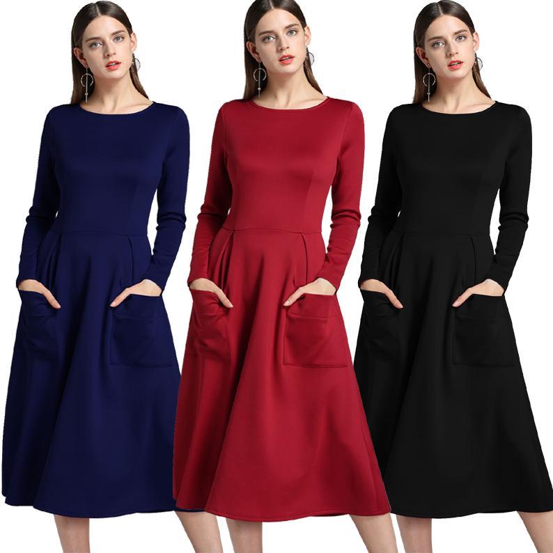 4ac3b63674 Outono e inverno plus size vestidos de roupas femininas de manga comprida  bolso com zíper vestido maxi grande pêndulo vestidos casuais para as  mulheres
