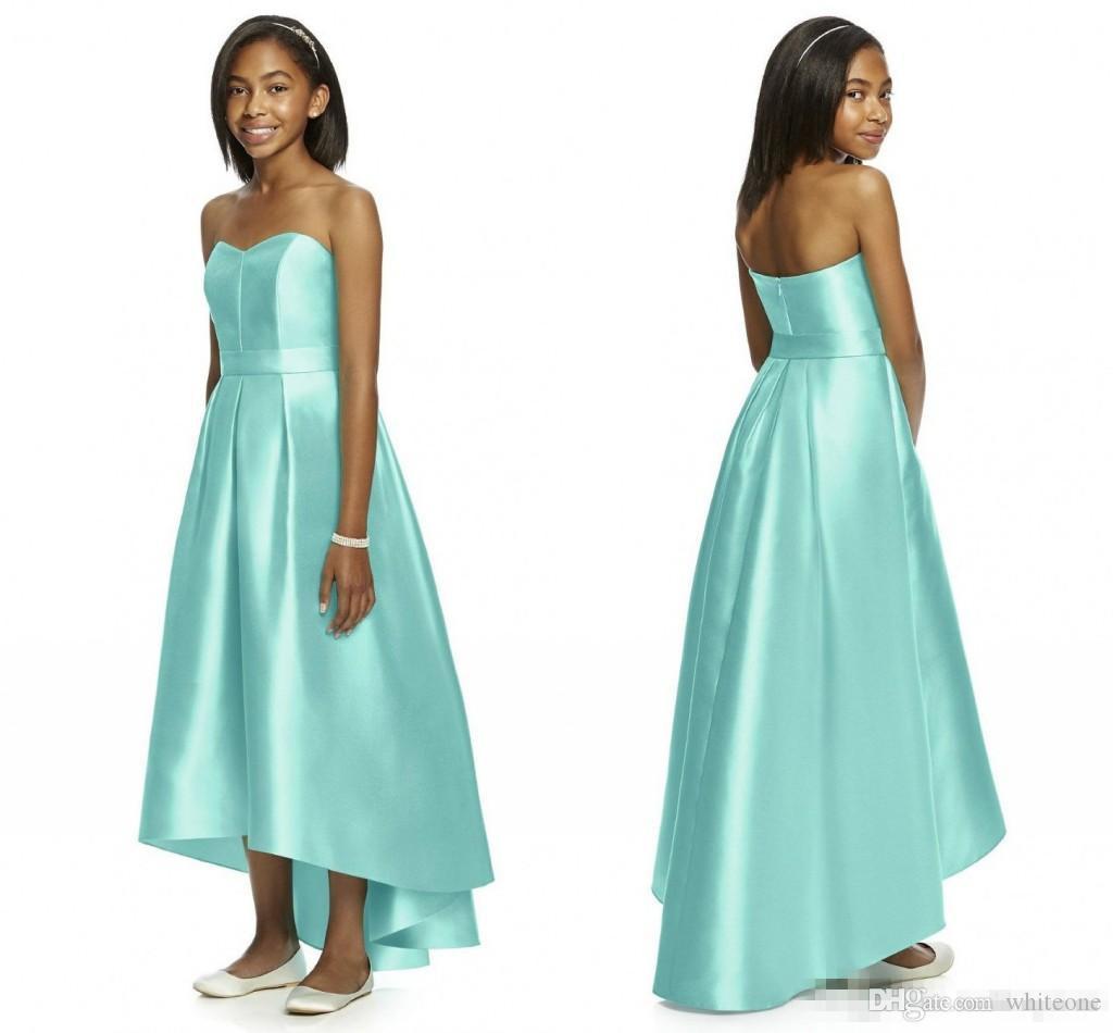 Mint green 2017 junior bridesmaid dresses strapless sleeveless hi 10 ombrellifo Image collections