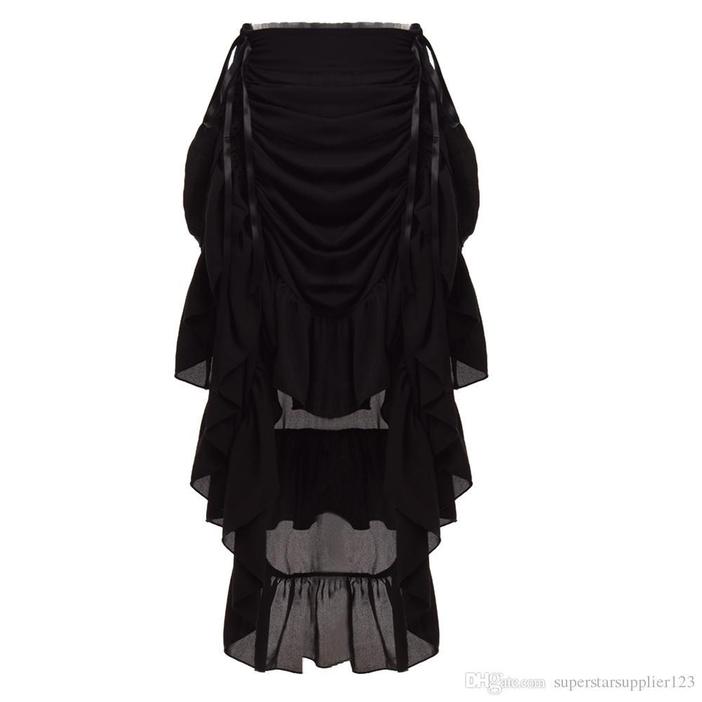 Retro Women Ruffled Cosplay Chiffon Skirt Vintage Victorian Steampunk Gothic Costume S/M/L/XL