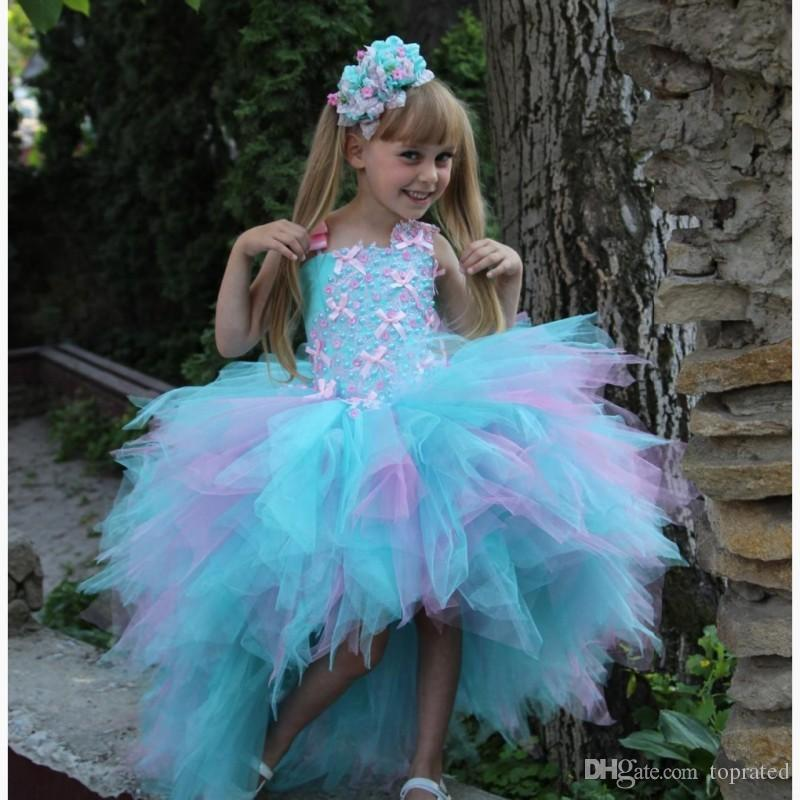 Colorful Cute Mint e Pink Flower Girl Dresses High Low Ball Gown Perle Tiered Puffy Girls Pageant Dress Abiti di compleanno bambini 2017