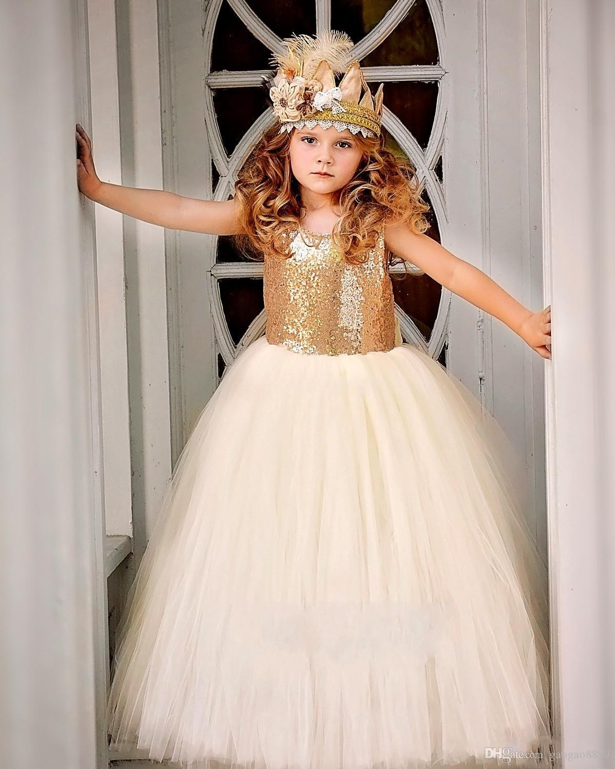 2017 Sparkly Gold Sequin A Line Flower Girl Dresses Tutu Sash Crew Neck Baby Child Birthday Party Formal Gowns Girls Pageant Dress Cheap DTJ