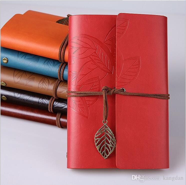 Couro do vintage PU Diário de Viagem Notebook espiral papel kraft notepad clássico Viagem em branco diário de folhas soltas Nota Livros