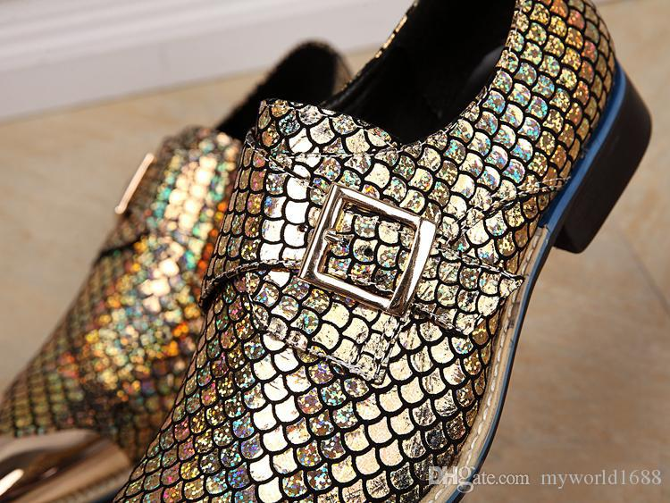 Metal Toe and Gold Silver Glitter Crystal Men Loafers Men Fashion Genuine Leather Slippers Men Party Wedding Dress Shoes Men's Smoking