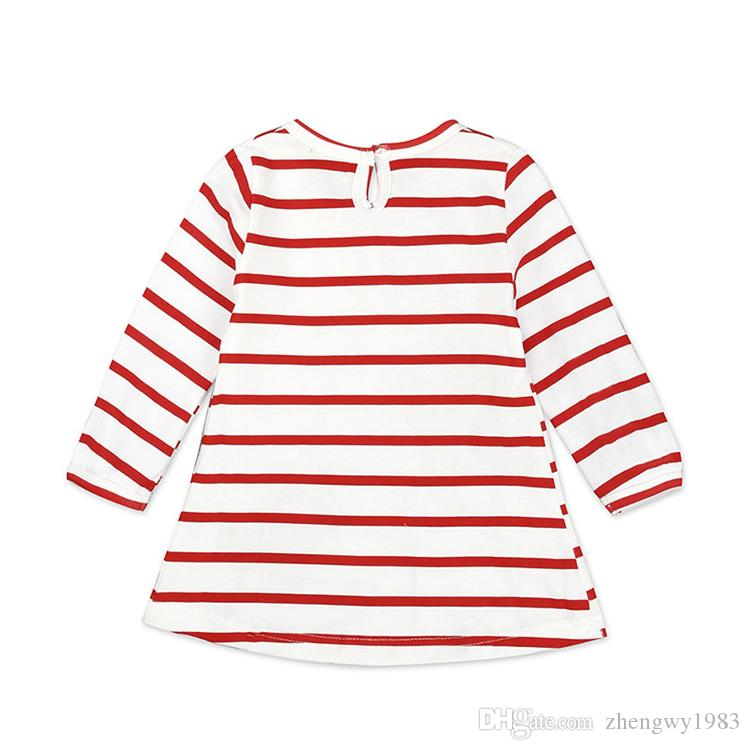 Newborn Baby Girl Dress Autumn Girls Long Sleeve Striped Dress Party Deer Santa Claus Kids Clothes Christmas Toddler Infant Clothes LA543