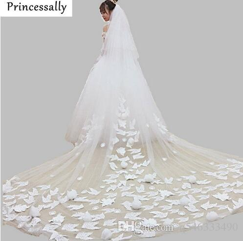 Princessally Married Wedding Veil Long Trail Romantic Lace Rose Flower Appliques White Ivory Bridal Veil Wedding Accessories New