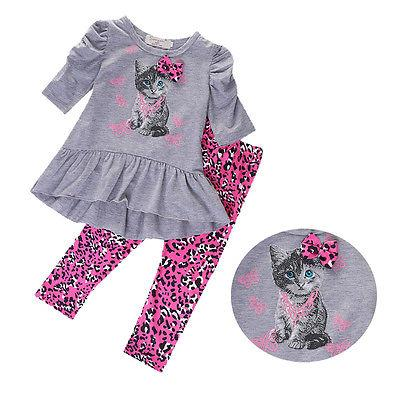 Wholesale Summer Children Girls Clothing Sets Animal Cat Clothes
