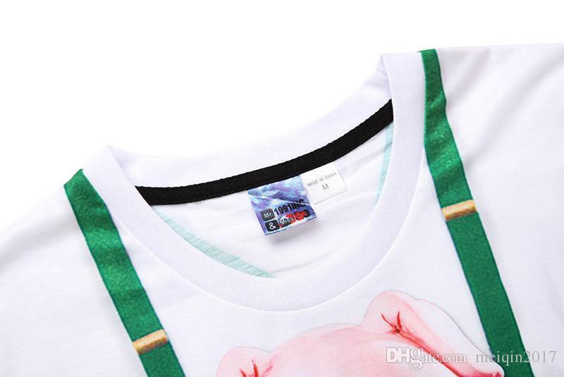 Tasarımcı gömlek erkekler t shirt erkekler için T-shirt 3d kısa kollu sevimli domuz baskı Sahte iki parçalı kısa kollu BL-039
