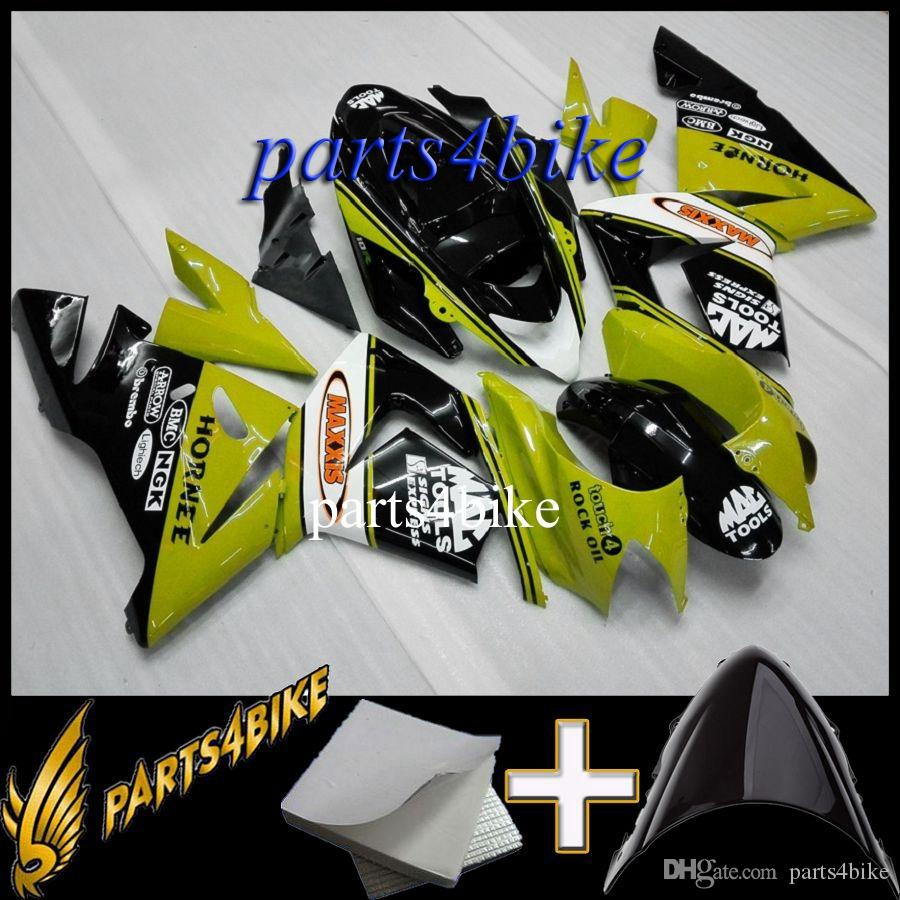 Aftermarket Plastic Fairing for Kawasaki ZX10R 04 05 ZX-10R 2004-2005 04-05 green white black Body Kit motorcycle panels