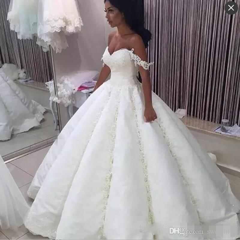 2019 Dubai Arabic Wedding Dresses Lace Appliques Off: 2019 Dubai Saudi Arabic Ball Gown Wedding Dress Off The
