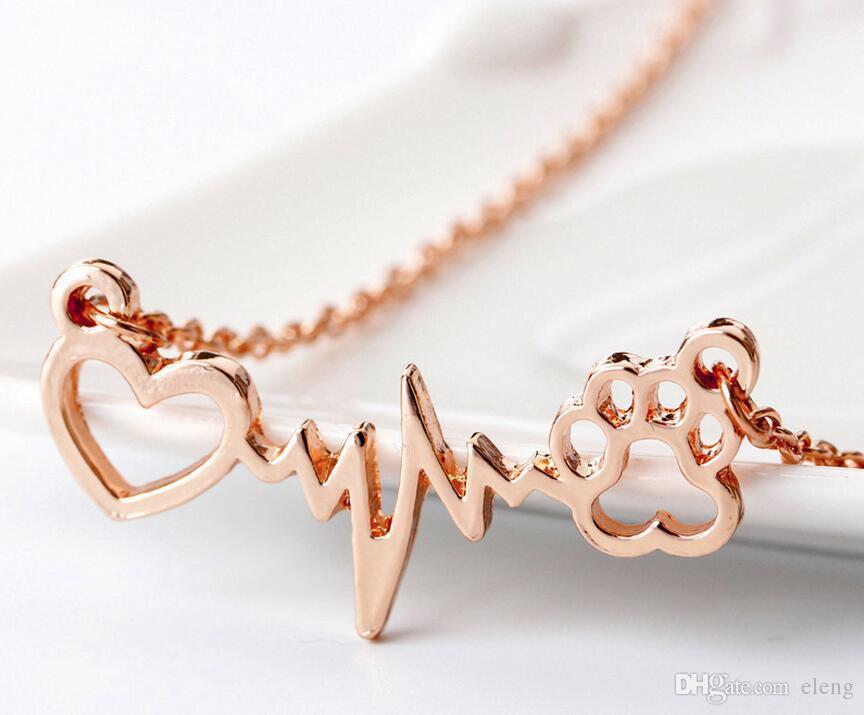 2018 Hollow out Aşk Pençe baskılar Elektrokardiyogram ecg ile Kadınlar için gümüş gül altın Zincir Severler Moda Takı 327