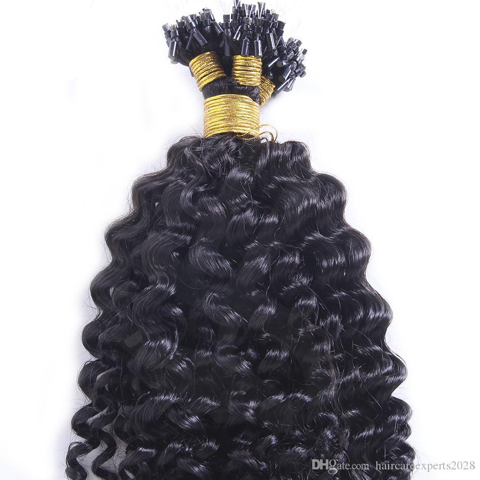 Coiffure brésilienne Bague micro-boucle Extensions de cheveux 0.5g / Strand 200trands / Péruvien Deep Wave Micro-boucle Extensions de cheveux humains