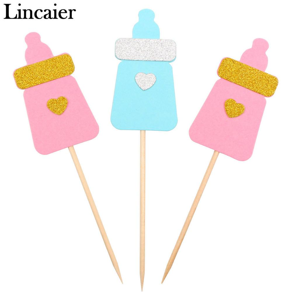 Lincaier Feeding Bottle Cupcake Toppers Baby Shower BabyShower Favors Boy Girl Birthday Party Decorations Kids Supplies