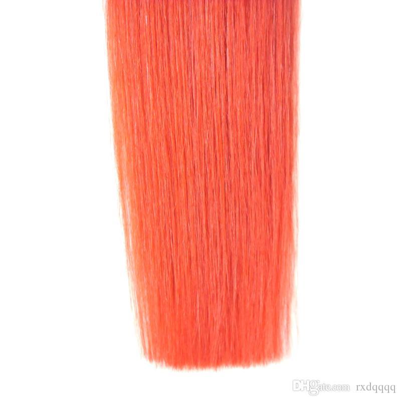 1B / Kıvırcık Brezilyalı Bakire Ombre Saç Bant İnsan Saç Uzantıları Düz 20 adet Cilt Atkı Saç 50g