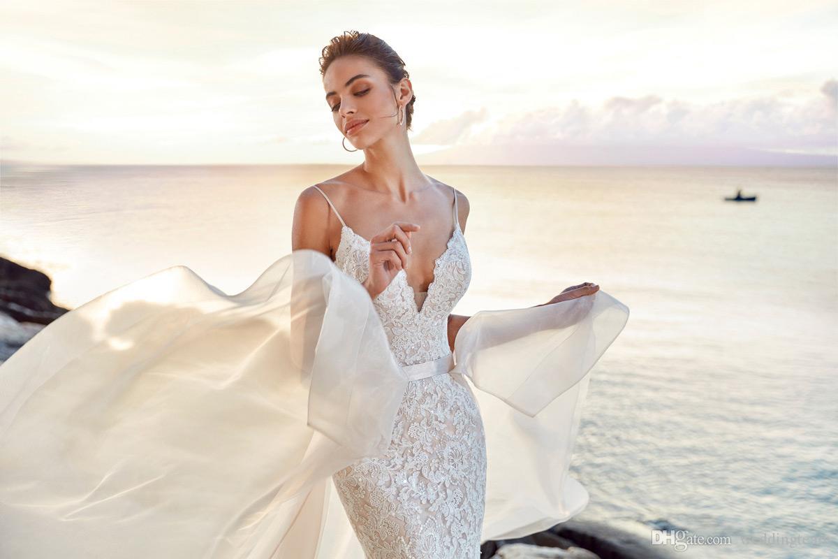 Elegant Mermaid Lace Bohemian Vestidos de casamento com trem desmontável Backless Beach Vestido de casamento Sweep Train Sequined Boho Bridal Gowns