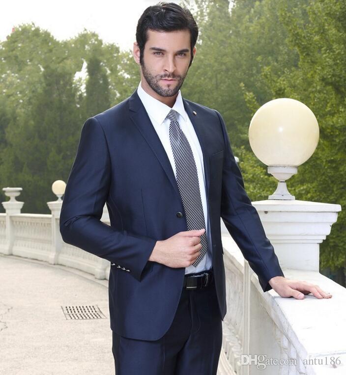 Новые мужские костюмы мода Groomsmen костюмы Notch отворот жениха смокинги темно-синий мужские костюмы свадьба лучший мужчина куртка + брюки