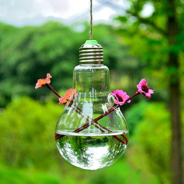 Creative Bulb Shape Hanging Mini Glass Vase Hydroponic Plants Flower