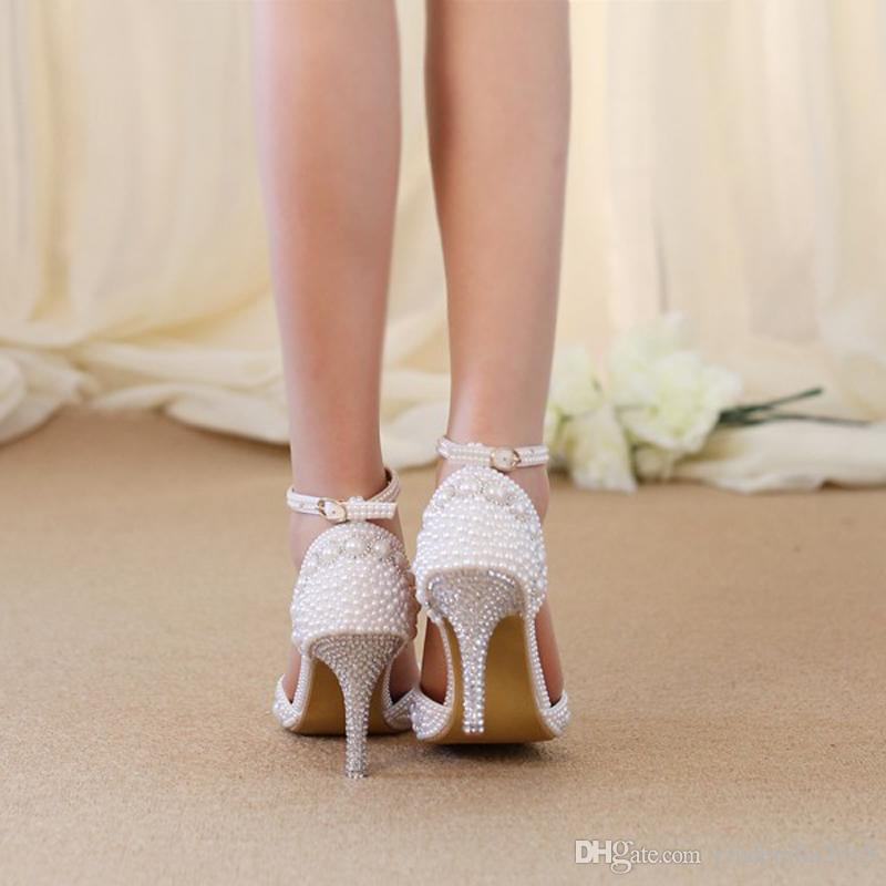 Women Summer Sandals Pointed Toe Rhinestone Pearl Wedding Party Shoes Gorgeous Bridal Shoes with Ankle Straps White Red and Pink