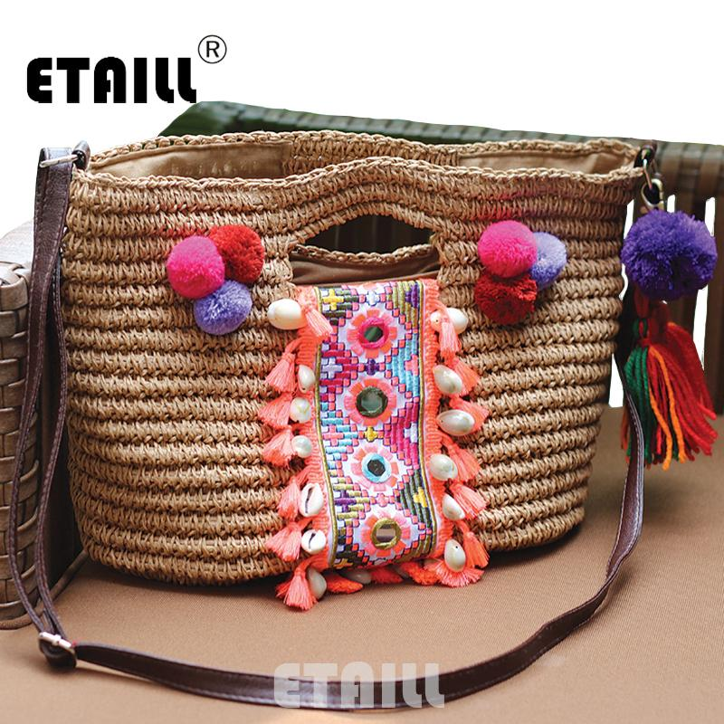 Wholesale Summer Bohemia Knitted Straw Fashion Women S Handbags Beach  Pompon Tassel Woven Indian Tote Luxury Famous Brand Shoulder Bags Beach Bags  Duffle ... c103fd38fa4af