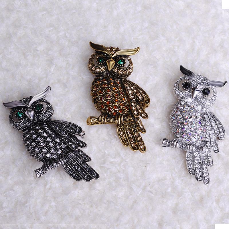 Large Bird Owls Vintage Brooches Antiques Bouquet Owl Hijab Pin Up Designer Wedded Broach Scarf Clips Jewelry Fleur de Lis