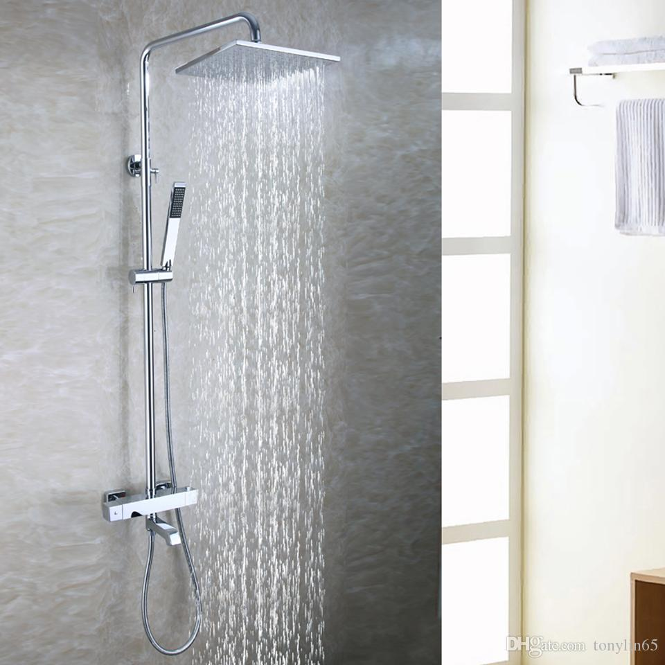 Bathroom Shower Faucet Set Hot And Cold Mixer Panel 10 Inch Air Water Saving Brass Chrome Rain Shower Head Shower Equipment