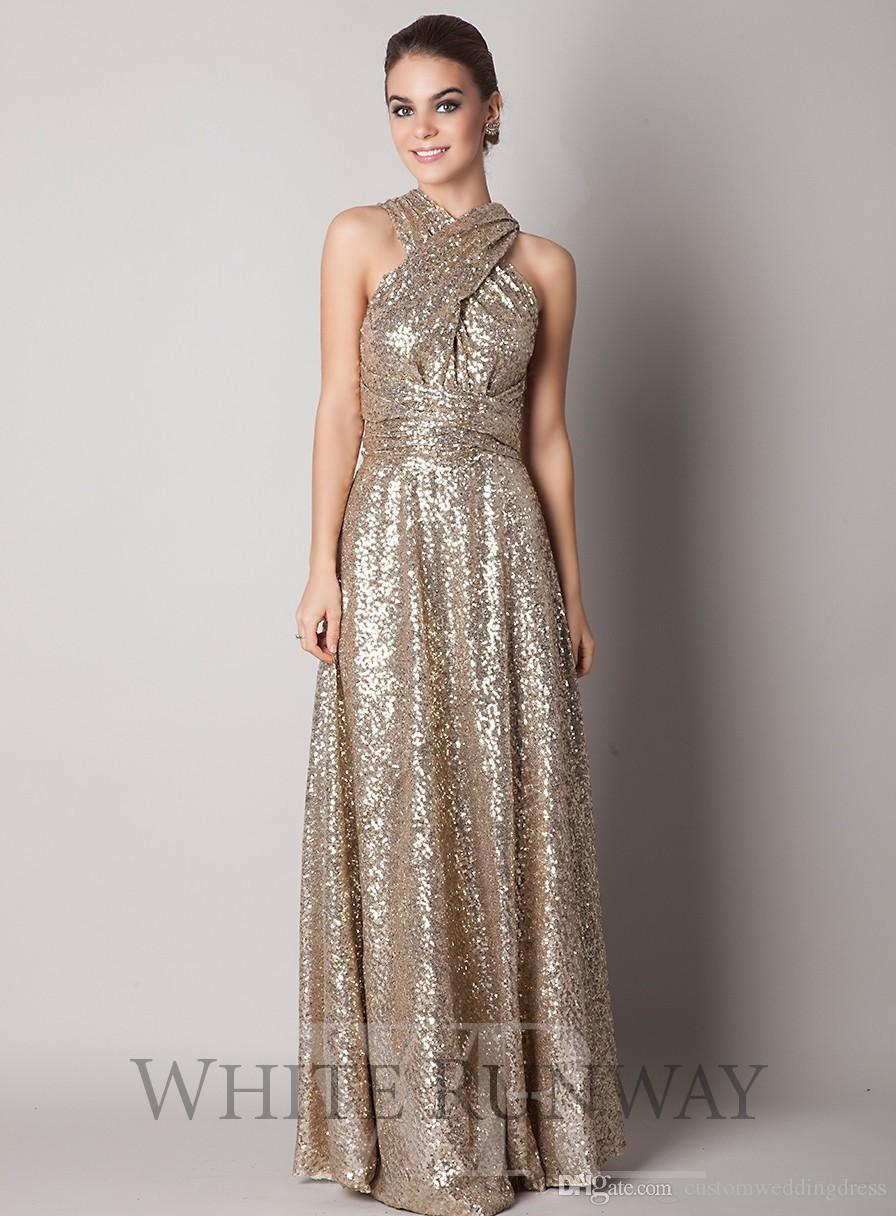 2018 Sparkly Convertiable Rose Gold Sequins Bridesmaid Dress A Line Floor Length Long Plus Size Custom Made Maid Of Honor UM01