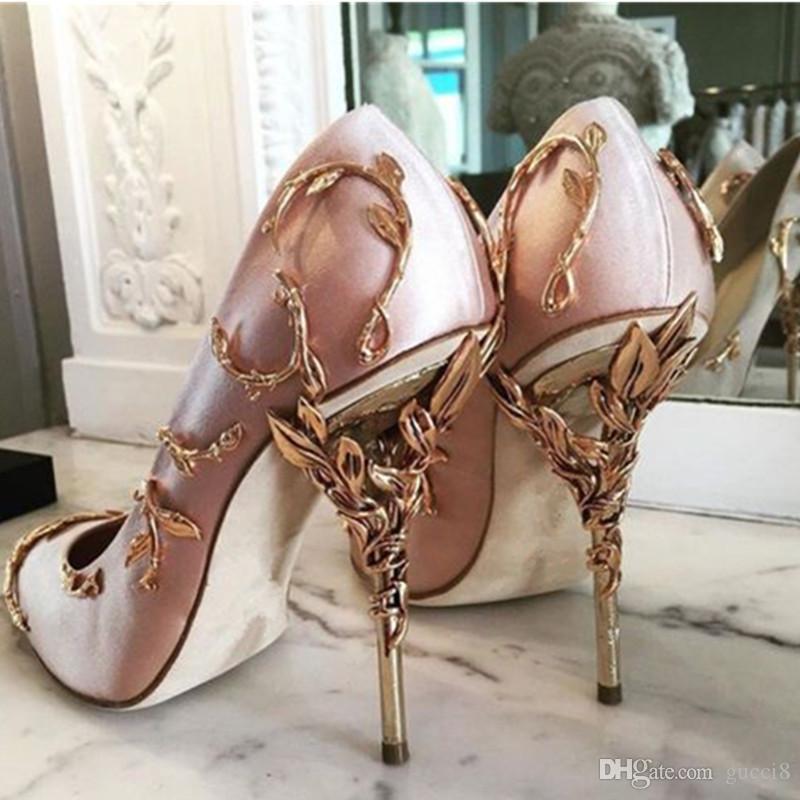 Yüksek Kaliteli Pompaları Bırakır Moda Metalik Tasarımcı Sivri Burun Lüks parti Düğün Ayakkabı Kadın Pist Yüksek Topuklu Pompalar Gerçek Pics Boyutu 42
