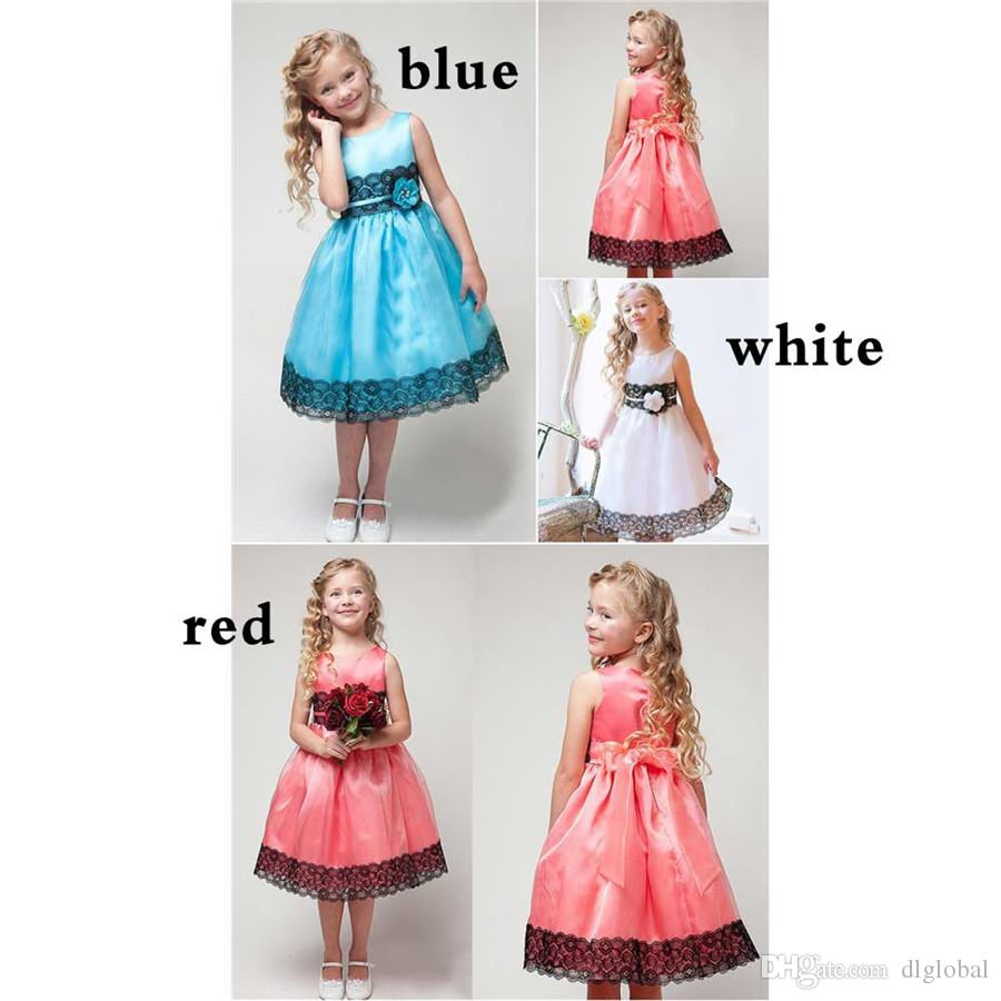 Princess Girls Party Dress Summer Girl Clothes Sleeveless Silk Girl Lace Dresses Flower Girls Princess Dress